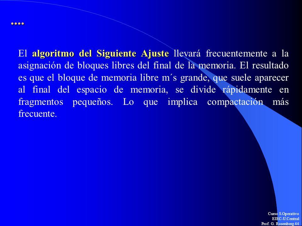 Curso S.Operativo EIEC-U.Central Prof. G. Rosenberg 44.... algoritmo del Siguiente Ajuste El algoritmo del Siguiente Ajuste llevará frecuentemente a l