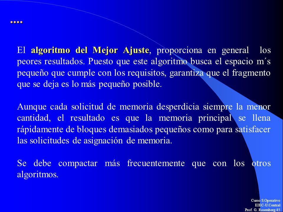 Curso S.Operativo EIEC-U.Central Prof. G. Rosenberg 45.... algoritmo del Mejor Ajuste El algoritmo del Mejor Ajuste, proporciona en general los peores