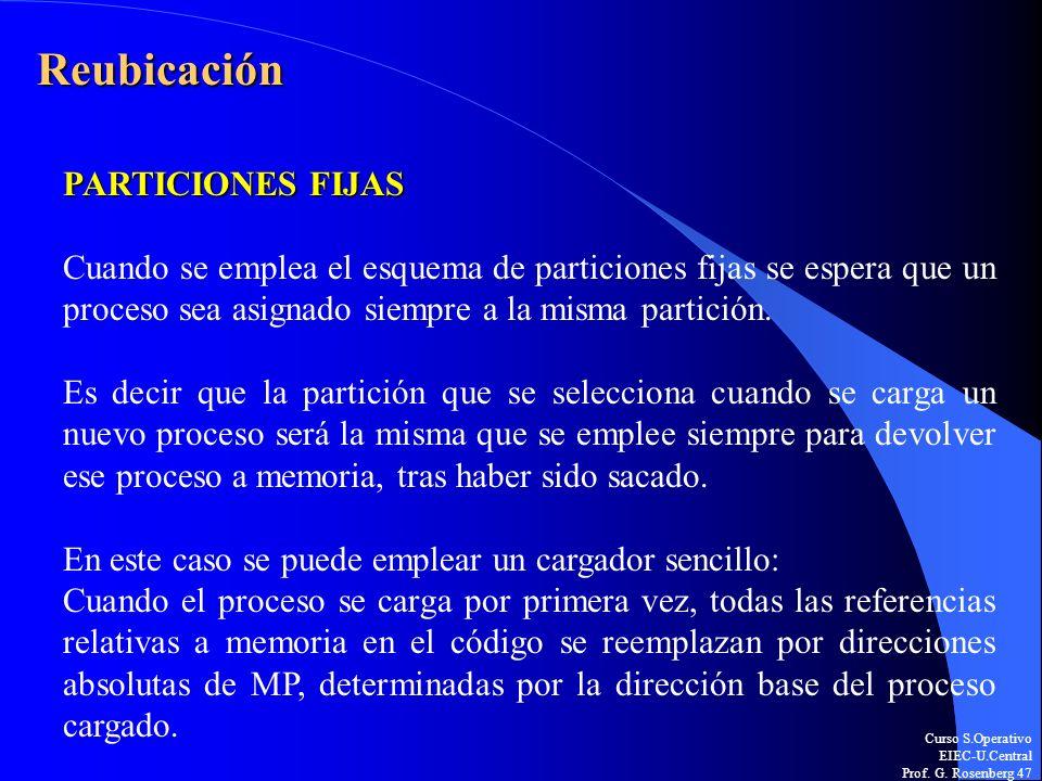 Curso S.Operativo EIEC-U.Central Prof. G. Rosenberg 47 Reubicación PARTICIONES FIJAS Cuando se emplea el esquema de particiones fijas se espera que un