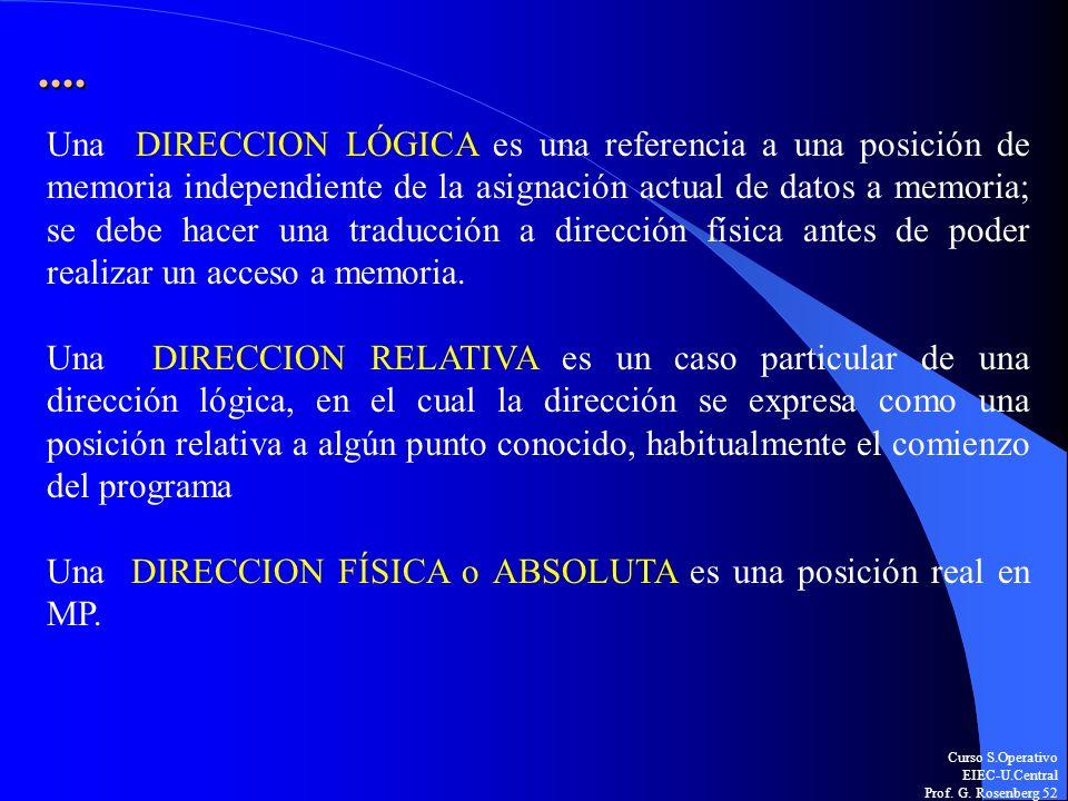 Curso S.Operativo EIEC-U.Central Prof. G. Rosenberg 52.... Una DIRECCION LÓGICA es una referencia a una posición de memoria independiente de la asigna