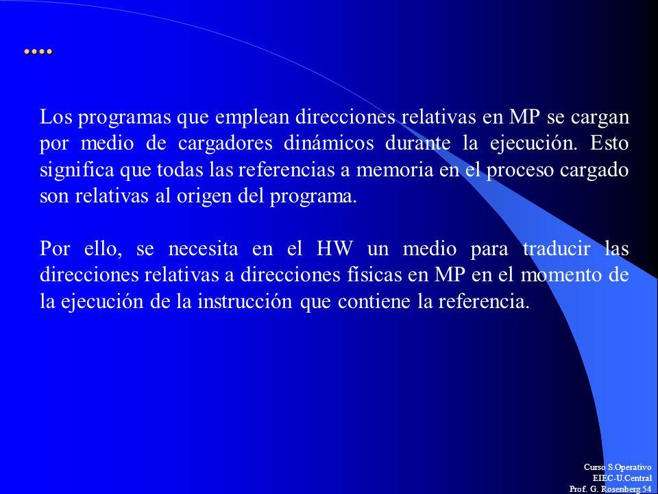 Curso S.Operativo EIEC-U.Central Prof. G. Rosenberg 54.... Los programas que emplean direcciones relativas en MP se cargan por medio de cargadores din