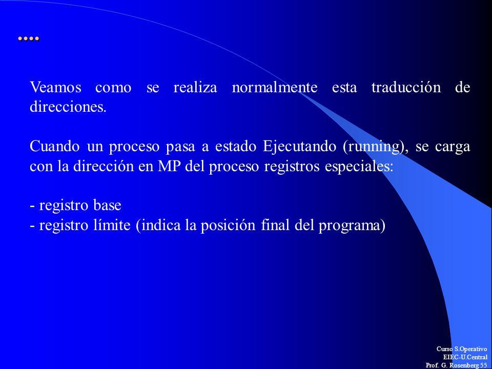 Curso S.Operativo EIEC-U.Central Prof. G. Rosenberg 55.... Veamos como se realiza normalmente esta traducción de direcciones. Cuando un proceso pasa a