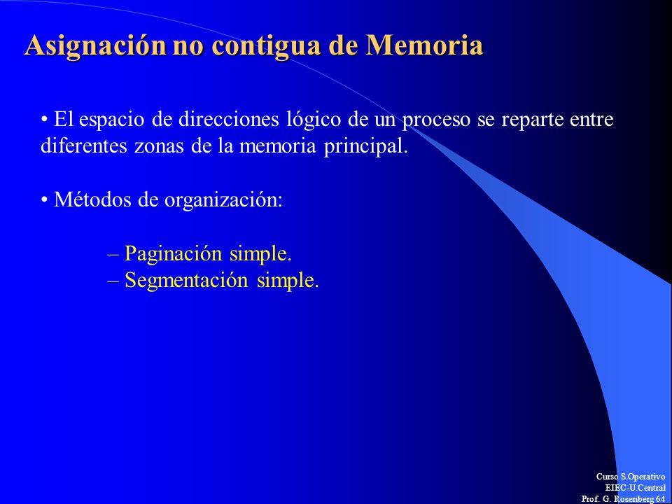 Curso S.Operativo EIEC-U.Central Prof. G. Rosenberg 64 Asignación no contigua de Memoria El espacio de direcciones lógico de un proceso se reparte ent