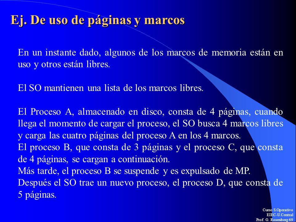Curso S.Operativo EIEC-U.Central Prof. G. Rosenberg 69 Ej. De uso de páginas y marcos En un instante dado, algunos de los marcos de memoria están en u