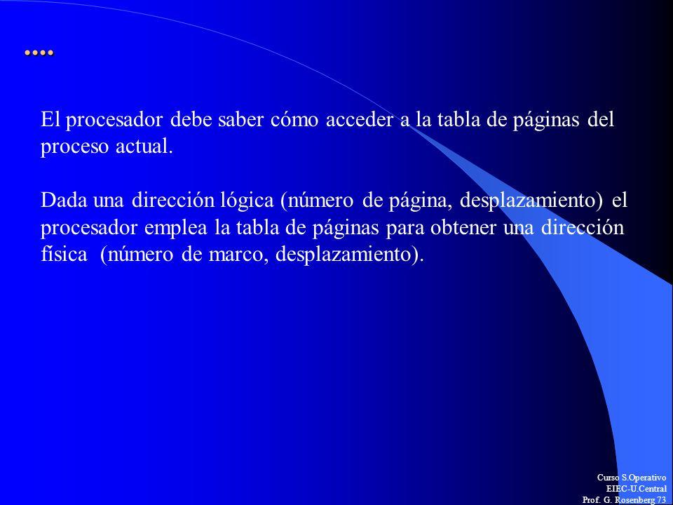 Curso S.Operativo EIEC-U.Central Prof. G. Rosenberg 73.... El procesador debe saber cómo acceder a la tabla de páginas del proceso actual. Dada una di