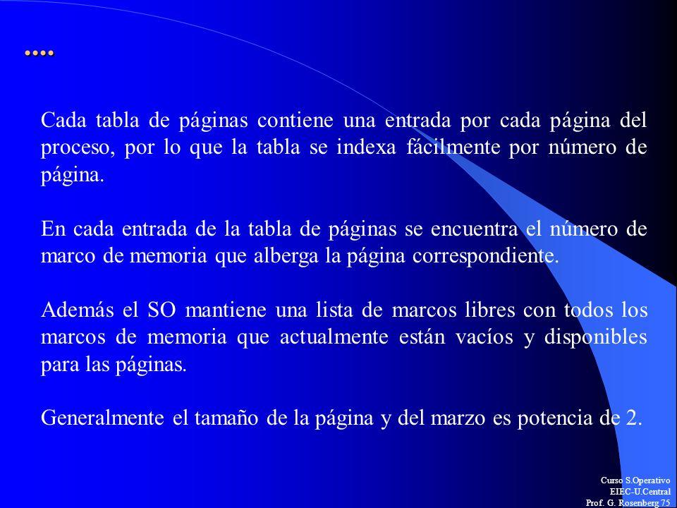 Curso S.Operativo EIEC-U.Central Prof. G. Rosenberg 75.... Cada tabla de páginas contiene una entrada por cada página del proceso, por lo que la tabla