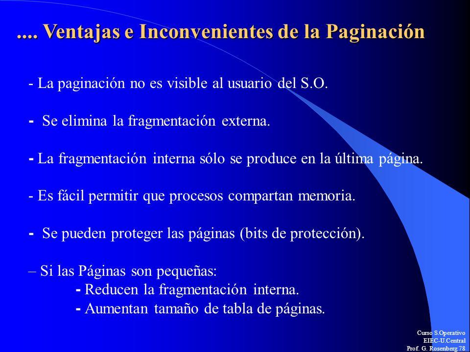 Curso S.Operativo EIEC-U.Central Prof. G. Rosenberg 78.... Ventajas e Inconvenientes de la Paginación - La paginación no es visible al usuario del S.O