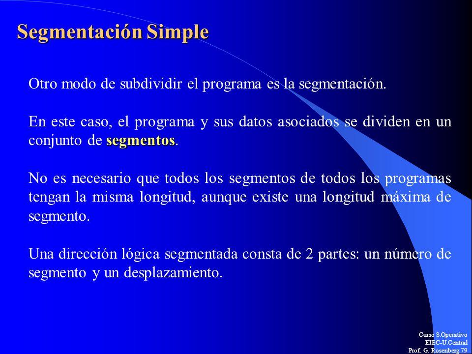 Curso S.Operativo EIEC-U.Central Prof. G. Rosenberg 79 Segmentación Simple Otro modo de subdividir el programa es la segmentación. segmentos En este c