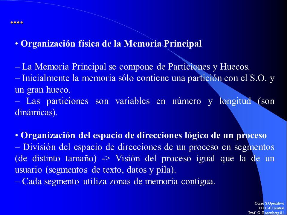 Curso S.Operativo EIEC-U.Central Prof. G. Rosenberg 81.... Organización física de la Memoria Principal – La Memoria Principal se compone de Particione