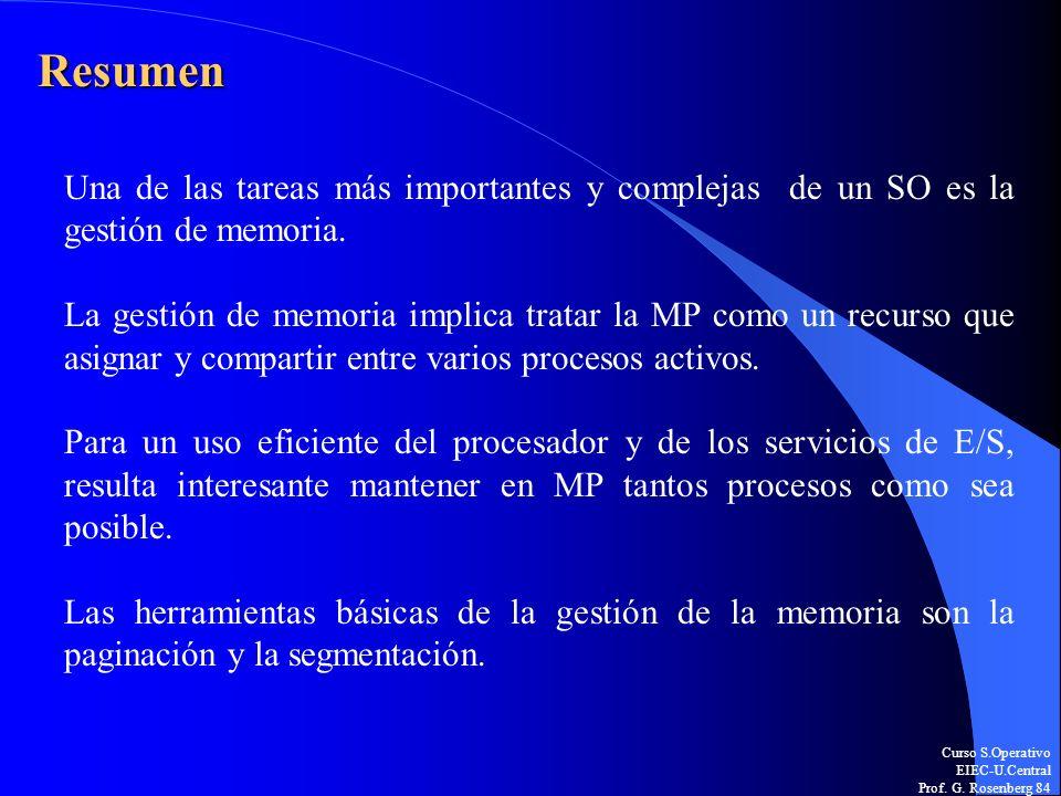 Curso S.Operativo EIEC-U.Central Prof. G. Rosenberg 84 Resumen Una de las tareas más importantes y complejas de un SO es la gestión de memoria. La ges