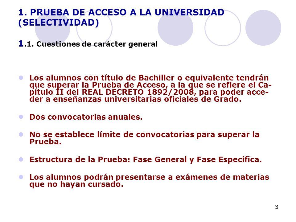 3 1. PRUEBA DE ACCESO A LA UNIVERSIDAD (SELECTIVIDAD) 1.1.