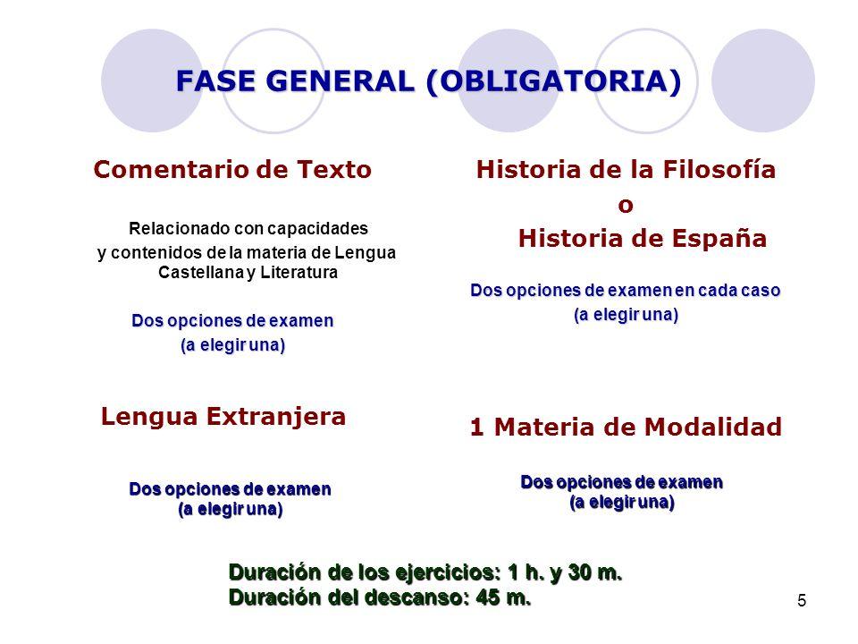 5 FASE GENERAL (OBLIGATORIA FASE GENERAL (OBLIGATORIA) Comentario de Texto Relacionado con capacidades y contenidos de la materia de Lengua Castellana y Literatura Dos opciones de examen (a elegir una) Historia de la Filosofía o Historia de España Dos opciones de examen en cada caso (a elegir una) 1 Materia de Modalidad Lengua Extranjera Dos opciones de examen (a elegir una) Dos opciones de examen (a elegir una) Duración de los ejercicios: 1 h.