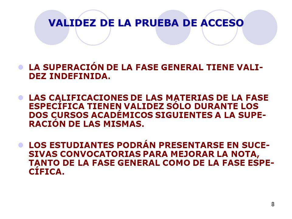 8 VALIDEZ DE LA PRUEBA DE ACCESO LA SUPERACIÓN DE LA FASE GENERAL TIENE VALI- DEZ INDEFINIDA. LAS CALIFICACIONES DE LAS MATERIAS DE LA FASE ESPECÍFICA