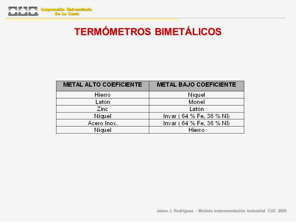 Jaime J. Rodríguez – Módulo Instrumentación Industrial CUC 2005 TERMÓMETROS BIMETÁLICOS