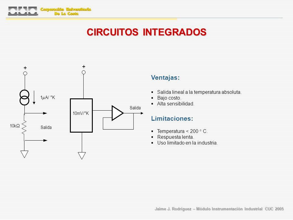 Jaime J. Rodríguez – Módulo Instrumentación Industrial CUC 2005 CIRCUITOS INTEGRADOS Ventajas: Salida lineal a la temperatura absoluta. Bajo costo. Al