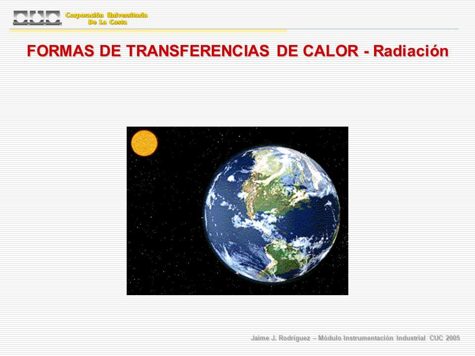 Jaime J. Rodríguez – Módulo Instrumentación Industrial CUC 2005 FORMAS DE TRANSFERENCIAS DE CALOR - Radiación