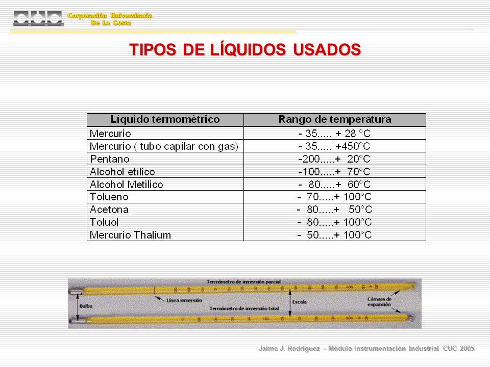 Jaime J. Rodríguez – Módulo Instrumentación Industrial CUC 2005 TIPOS DE LÍQUIDOS USADOS