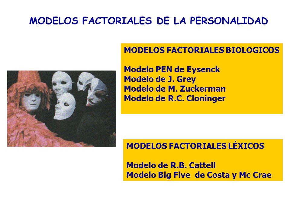 MODELOS FACTORIALES DE LA PERSONALIDAD MODELOS FACTORIALES LÉXICOS Modelo de R.B. Cattell Modelo Big Five de Costa y Mc Crae MODELOS FACTORIALES BIOLO