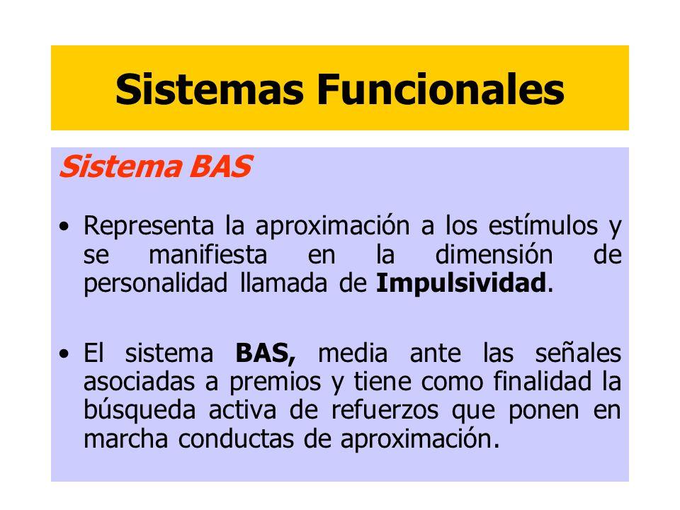 Sistemas Funcionales Sistema BAS Representa la aproximación a los estímulos y se manifiesta en la dimensión de personalidad llamada de Impulsividad. E
