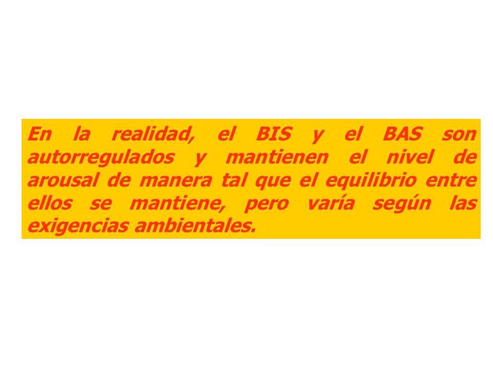 En la realidad, el BIS y el BAS son autorregulados y mantienen el nivel de arousal de manera tal que el equilibrio entre ellos se mantiene, pero varía