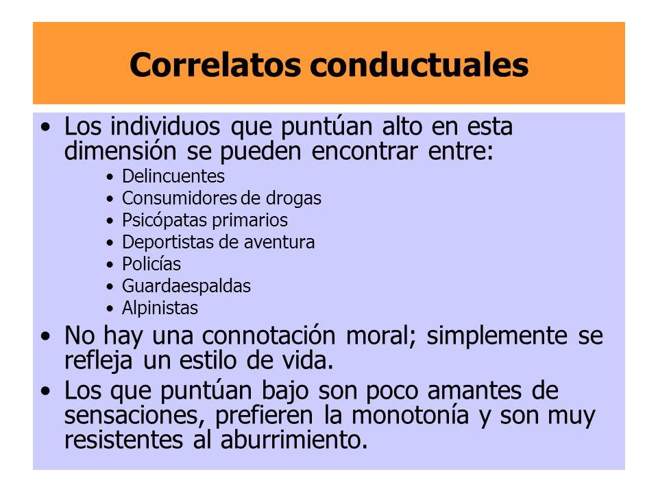 Correlatos conductuales Los individuos que puntúan alto en esta dimensión se pueden encontrar entre: Delincuentes Consumidores de drogas Psicópatas pr