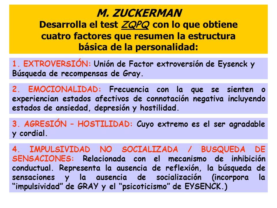 M. ZUCKERMAN Desarrolla el test ZQPQ con lo que obtiene cuatro factores que resumen la estructura básica de la personalidad: 1. EXTROVERSIÓN: Unión de