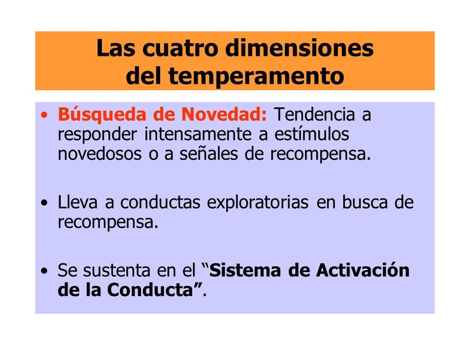 Las cuatro dimensiones del temperamento Búsqueda de Novedad: Tendencia a responder intensamente a estímulos novedosos o a señales de recompensa. Lleva