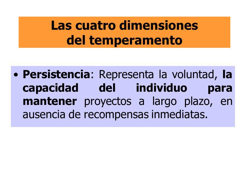 Las cuatro dimensiones del temperamento Persistencia: Representa la voluntad, la capacidad del individuo para mantener proyectos a largo plazo, en aus