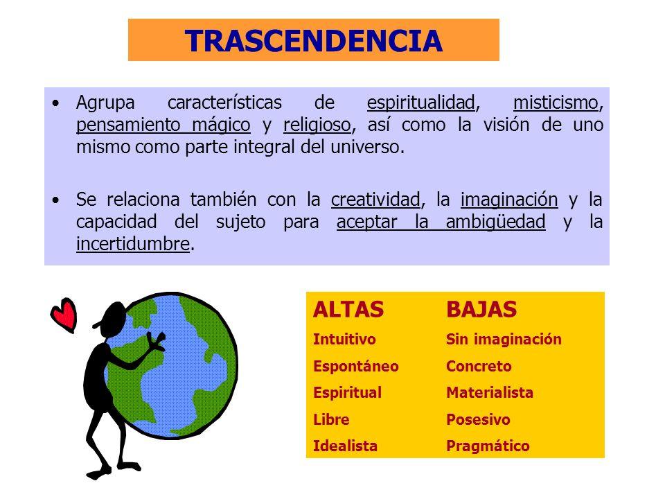 TRASCENDENCIA ALTASBAJAS IntuitivoSin imaginación EspontáneoConcreto EspiritualMaterialista LibrePosesivo IdealistaPragmático Agrupa características d