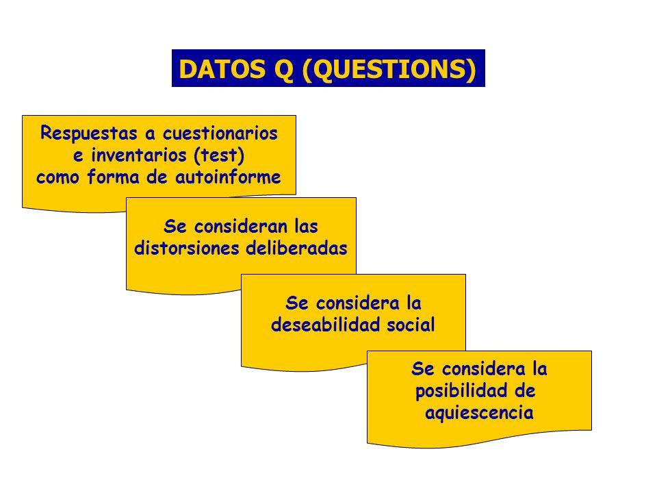 DATOS Q (QUESTIONS) Respuestas a cuestionarios e inventarios (test) como forma de autoinforme Se consideran las distorsiones deliberadas Se considera