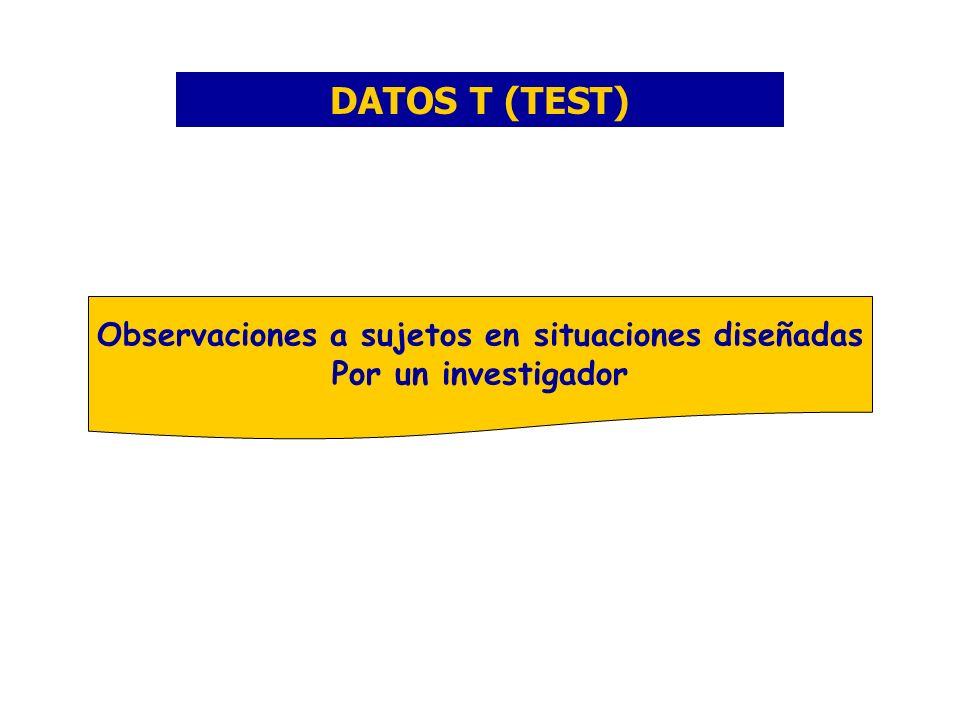 DATOS T (TEST) Observaciones a sujetos en situaciones diseñadas Por un investigador
