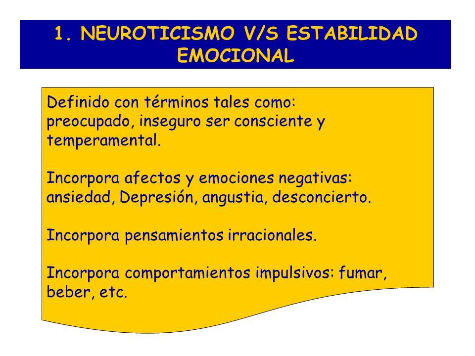 1. NEUROTICISMO V/S ESTABILIDAD EMOCIONAL Definido con términos tales como: preocupado, inseguro ser consciente y temperamental. Incorpora afectos y e