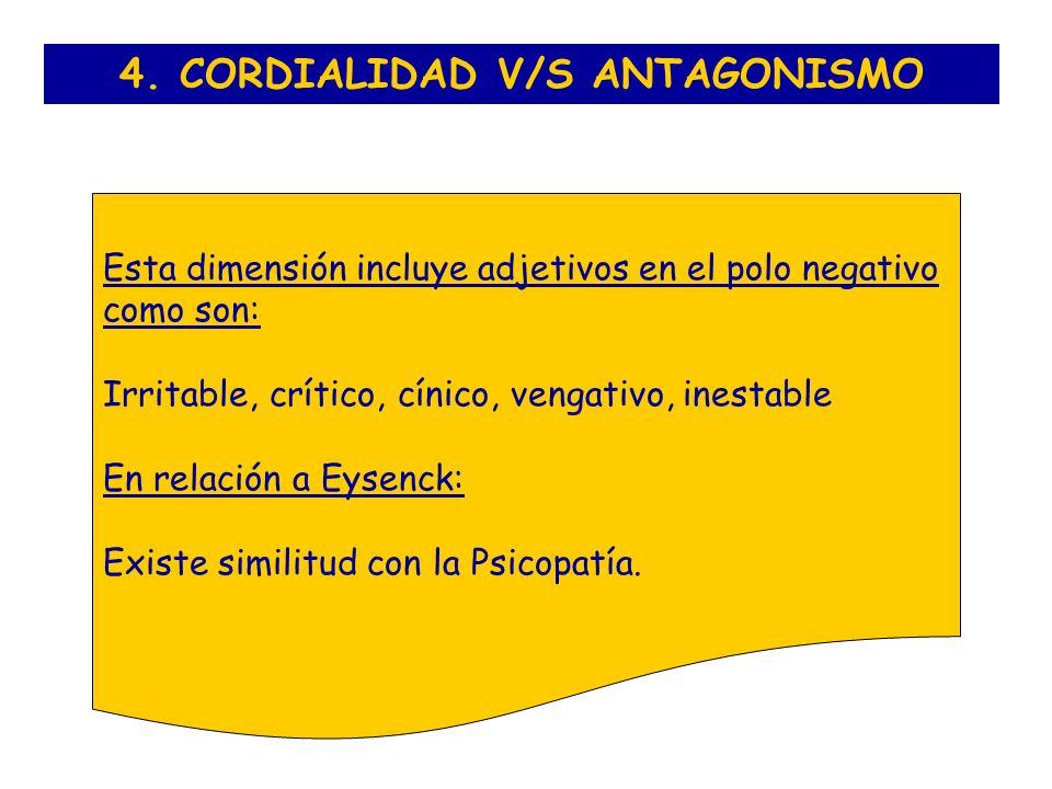 4. CORDIALIDAD V/S ANTAGONISMO Esta dimensión incluye adjetivos en el polo negativo como son: Irritable, crítico, cínico, vengativo, inestable En rela