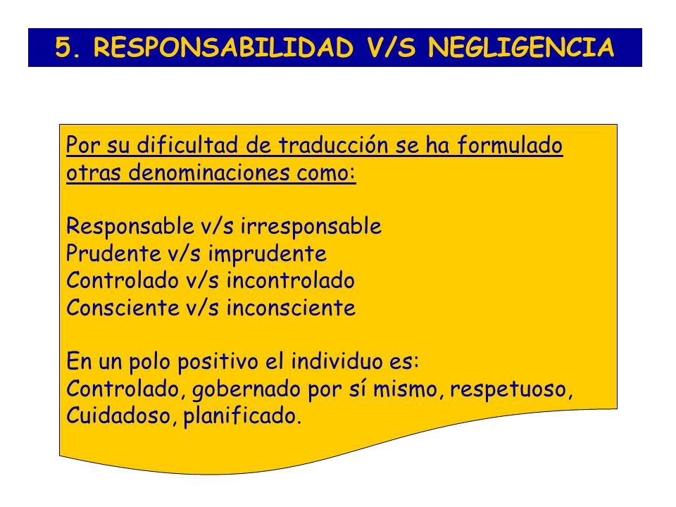 5. RESPONSABILIDAD V/S NEGLIGENCIA Por su dificultad de traducción se ha formulado otras denominaciones como: Responsable v/s irresponsable Prudente v