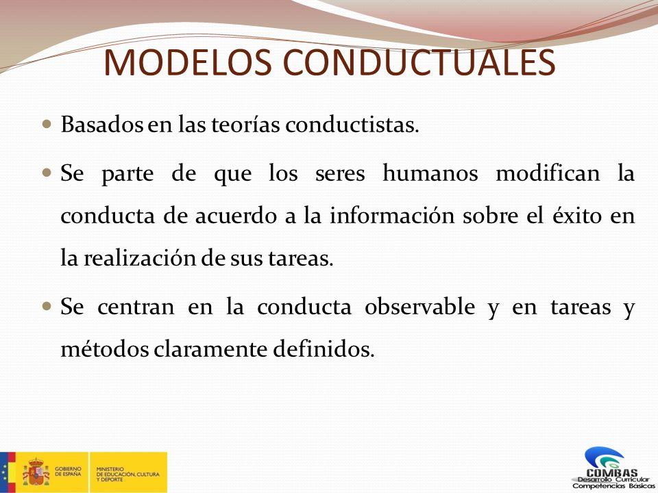 MODELOS CONDUCTUALES Basados en las teorías conductistas. Se parte de que los seres humanos modifican la conducta de acuerdo a la información sobre el