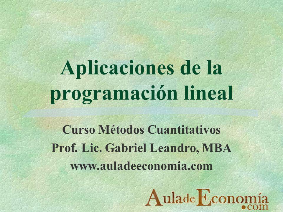 http://www.auladeeconomia.com Aplicaciones de la programación lineal §La programación lineal es un método eficiente para determinar una decisión óptima entre un gran número de decisiones posibles §Es impresionante el número y la diversidad de problemas en los que se puede aplicar