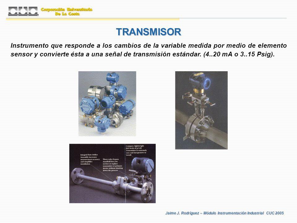 Jaime J. Rodríguez – Módulo Instrumentación Industrial CUC 2005 TRANSMISOR Instrumento que responde a los cambios de la variable medida por medio de e