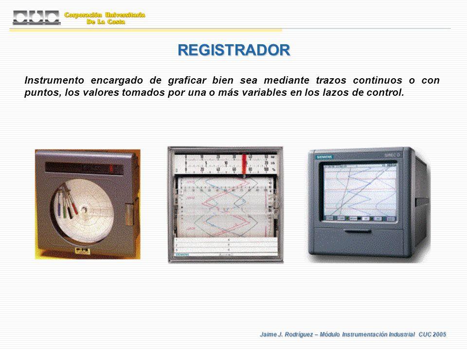 Jaime J. Rodríguez – Módulo Instrumentación Industrial CUC 2005 REGISTRADOR Instrumento encargado de graficar bien sea mediante trazos continuos o con