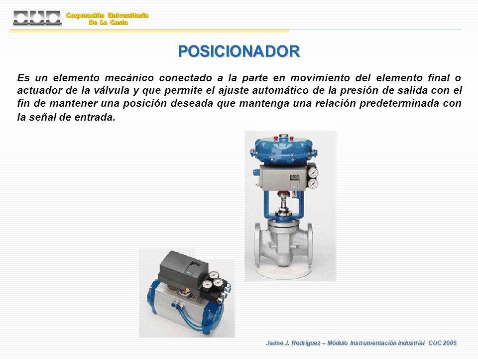 Jaime J. Rodríguez – Módulo Instrumentación Industrial CUC 2005 POSICIONADOR Es un elemento mecánico conectado a la parte en movimiento del elemento f