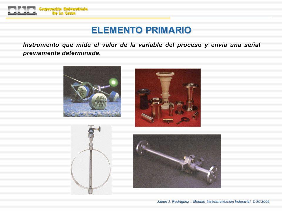 Jaime J. Rodríguez – Módulo Instrumentación Industrial CUC 2005 ELEMENTO PRIMARIO Instrumento que mide el valor de la variable del proceso y envía una