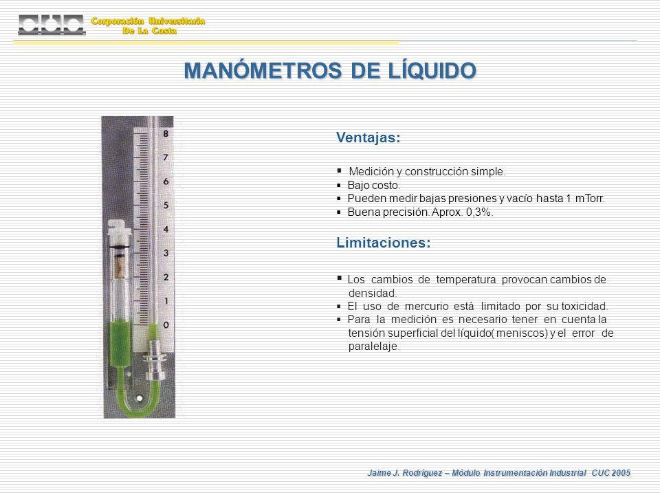 Jaime J. Rodríguez – Módulo Instrumentación Industrial CUC 2005 MANÓMETROS DE LÍQUIDO Ventajas: Medición y construcción simple. Bajo costo. Pueden med