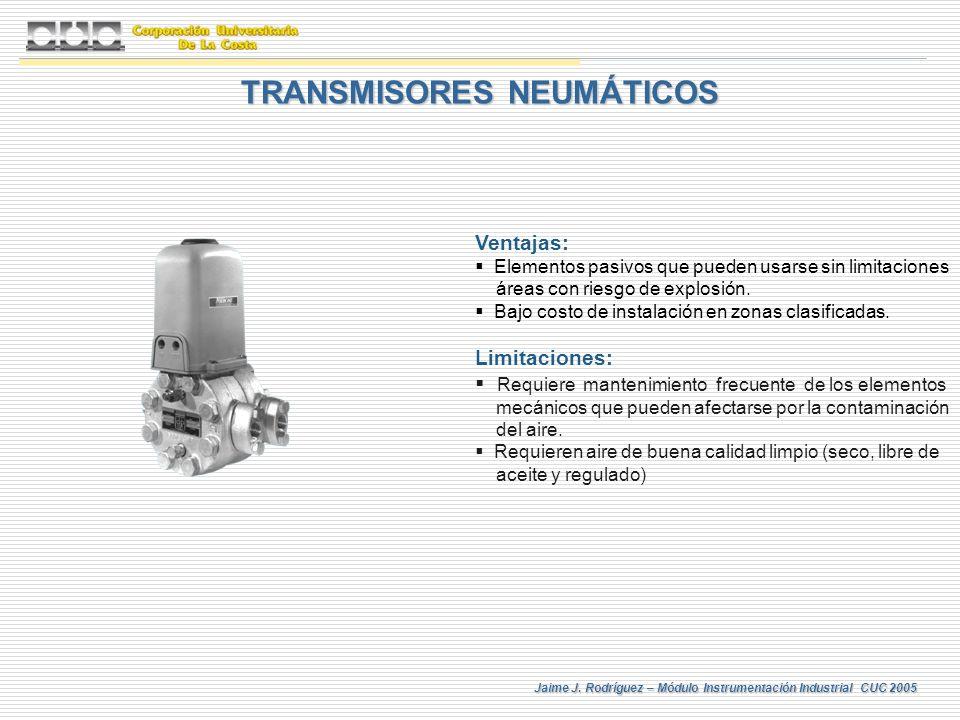 Jaime J. Rodríguez – Módulo Instrumentación Industrial CUC 2005 TRANSMISORES NEUMÁTICOS Ventajas: Elementos pasivos que pueden usarse sin limitaciones