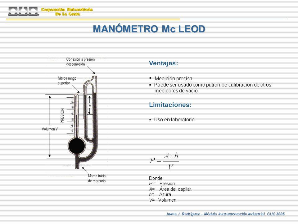 Jaime J. Rodríguez – Módulo Instrumentación Industrial CUC 2005 MANÓMETRO Mc LEOD Ventajas: Medición precisa. Puede ser usado como patrón de calibraci