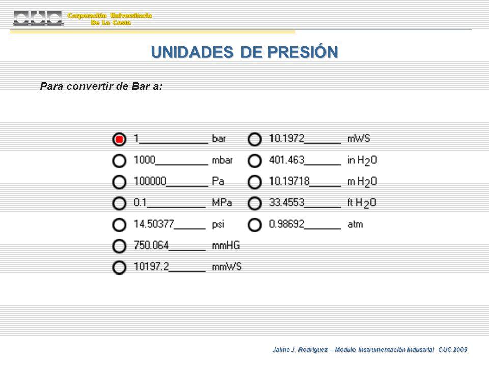Jaime J. Rodríguez – Módulo Instrumentación Industrial CUC 2005 UNIDADES DE PRESIÓN Para convertir de Bar a:
