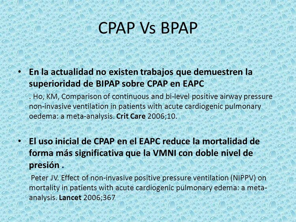 CPAP Vs BPAP En la actualidad no existen trabajos que demuestren la superioridad de BIPAP sobre CPAP en EAPC. Ho, KM, Comparison of continuous and bi-