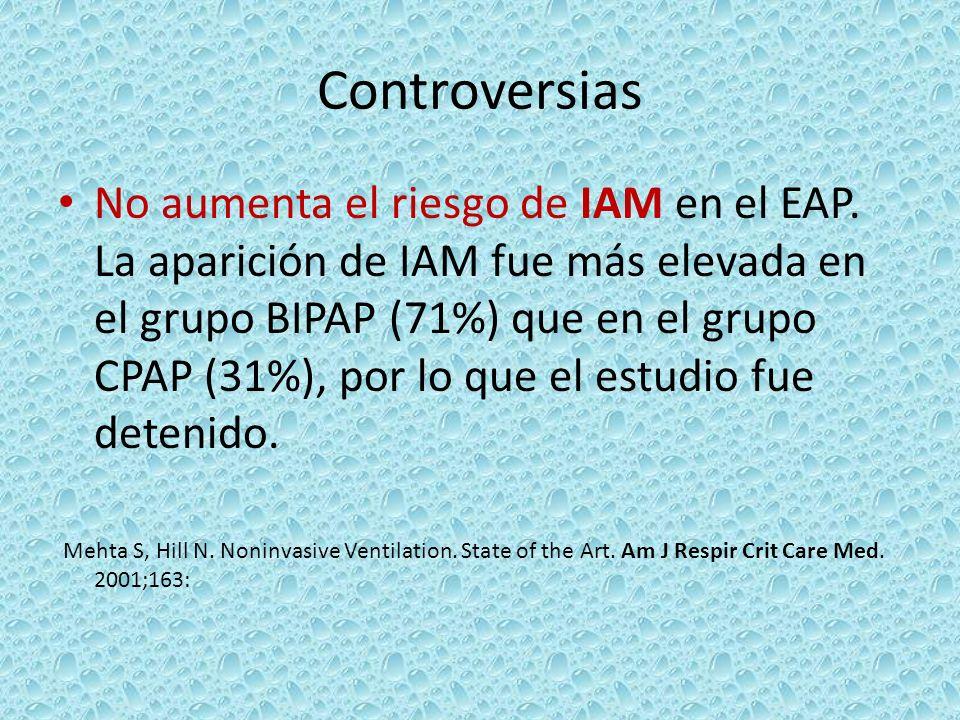 Controversias No aumenta el riesgo de IAM en el EAP. La aparición de IAM fue más elevada en el grupo BIPAP (71%) que en el grupo CPAP (31%), por lo qu