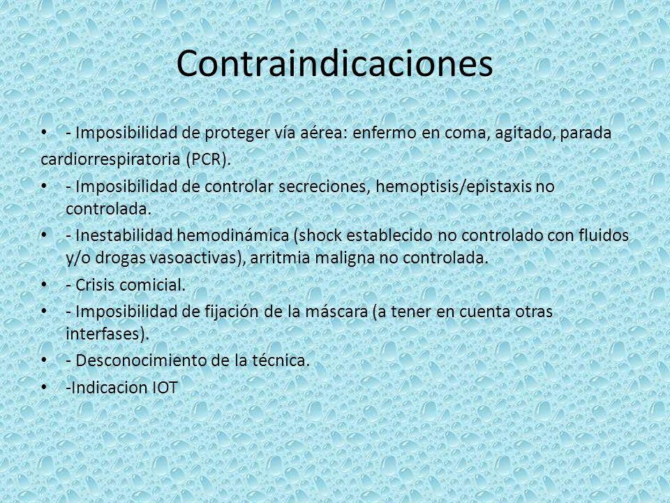 Contraindicaciones - Imposibilidad de proteger vía aérea: enfermo en coma, agitado, parada cardiorrespiratoria (PCR). - Imposibilidad de controlar sec