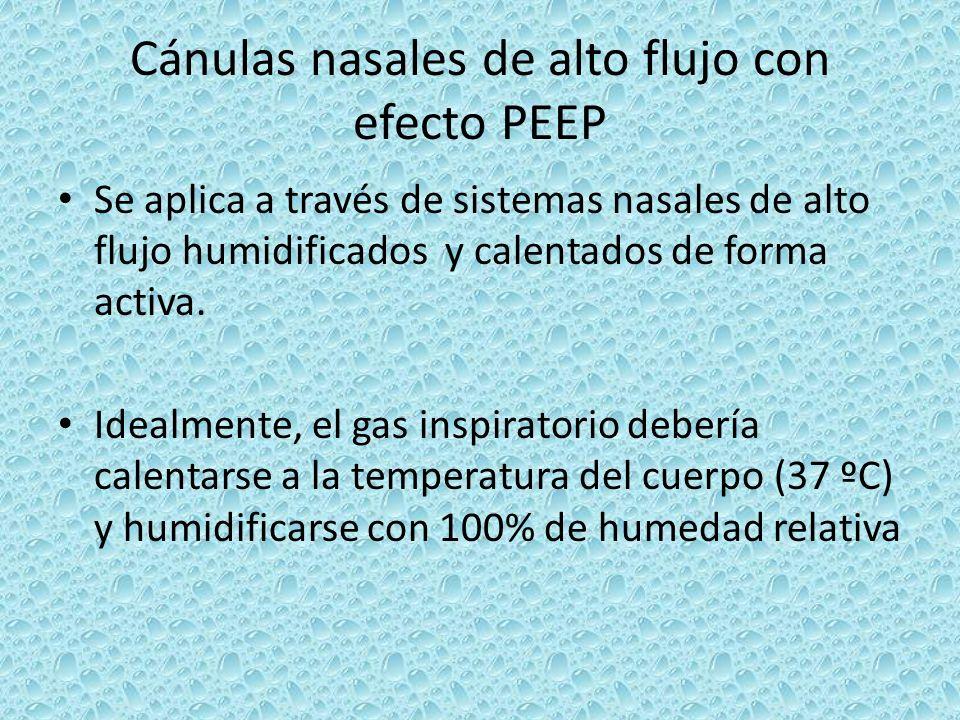 Se aplica a través de sistemas nasales de alto flujo humidificados y calentados de forma activa. Idealmente, el gas inspiratorio debería calentarse a