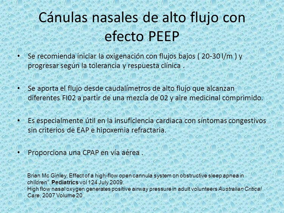 Cánulas nasales de alto flujo con efecto PEEP Se recomienda iniciar la oxigenación con flujos bajos ( 20-30 l/m ) y progresar según la tolerancia y re