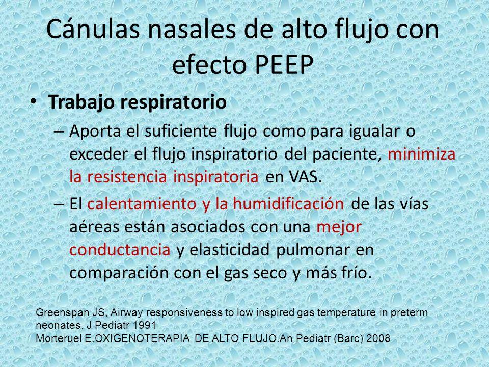 Cánulas nasales de alto flujo con efecto PEEP Trabajo respiratorio – Aporta el suficiente flujo como para igualar o exceder el flujo inspiratorio del